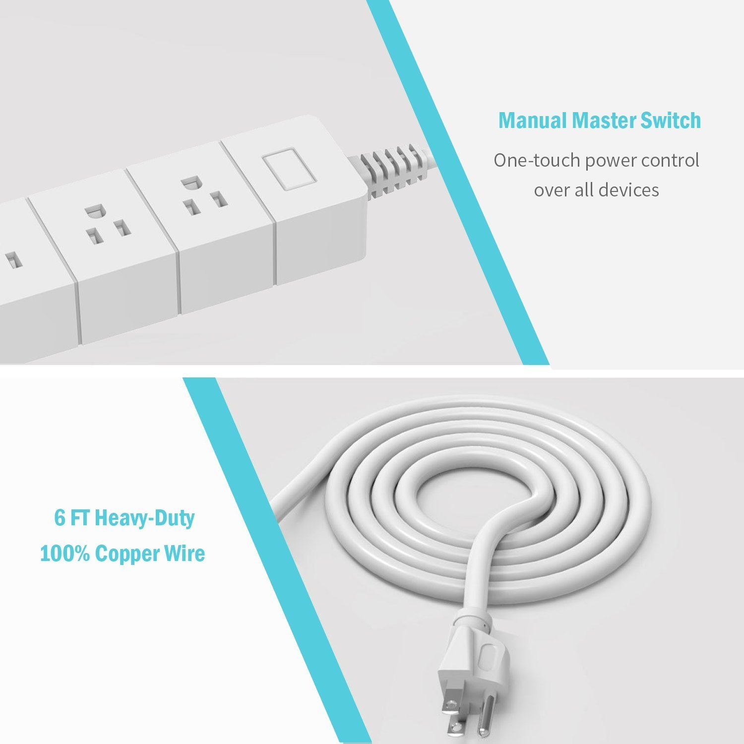 HOT-Wi-Fi Smart Power Strip Support Amazon Alexa, Google Assistant & IFTTT, APP Remote Control, With 3 Smart AC Outlet