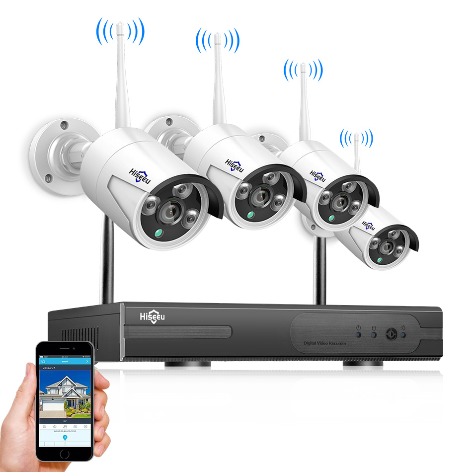 Hiseeu 4CH Wireless NVR Kit P2P 1080 p/960 p IR di Sicurezza domestica di via impermeabile IP Macchina Fotografica del CCTV WIFI video Sistema di sorveglianza kit