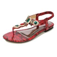 Summer Beach Women Shoes 2019 Fashion Flat Sandals Rhinestones Crystal Shoes Women Slippers Flip Flops Sandalia Feminina 35-45 недорого
