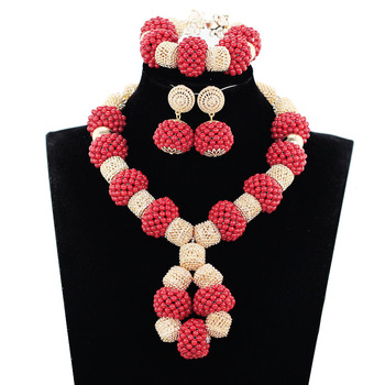 Trendy Red Gold Nigerian Wedding Costume Jewelry Sets for Women African Coral Beads Bridal Party Necklace Earrings Set ABH530