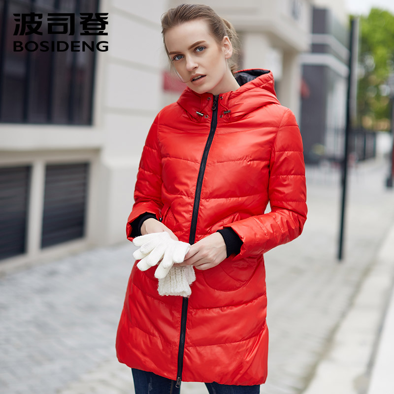 BOSIDENG WOMEN clothing candy colors winter slim down coat hooded outwear thick medium-long coat clearance sale B1301092