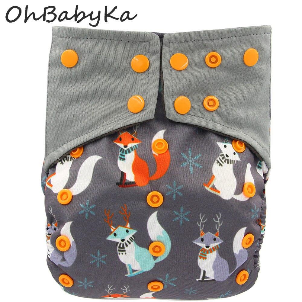 Ohbabyka Baby Holzkohle Bambus AIO Tuch Windel Genäht Einsatz Weihnachts Drucken Baby Windeln Größe Verstellbare Tasche Windel für Nacht