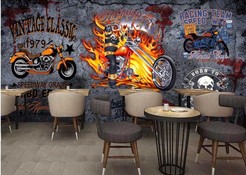 custom mural 3d photo wallpaper vintage motorcycle bar. Black Bedroom Furniture Sets. Home Design Ideas