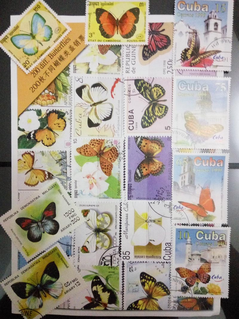 Good Condition, Butterfly Stamp, 200 PCS All Different Used Postage Stamps With Postmark For Collecting , Gifts 4pcs chinese acient tower postage stamps unused new no repeat non postmark published in china best stamps collecting