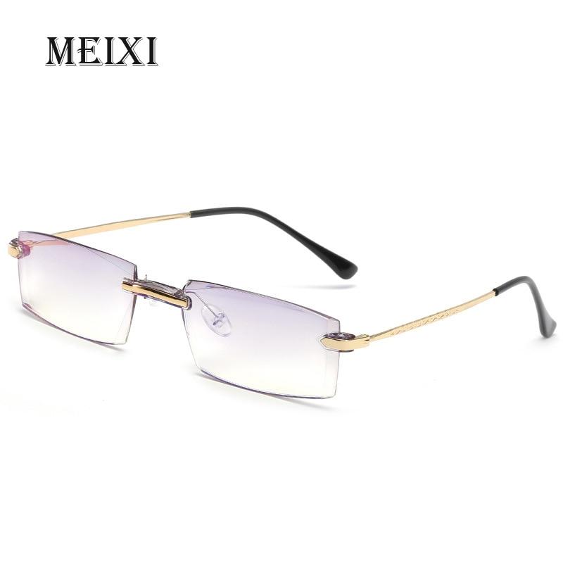 Rimless Blue Film Anti-blue Light Nearsighted Glasses Resin Nearsight Woman Men Shortsighted Myopia Eyewear -1. 1.5 2 2.5 3 4