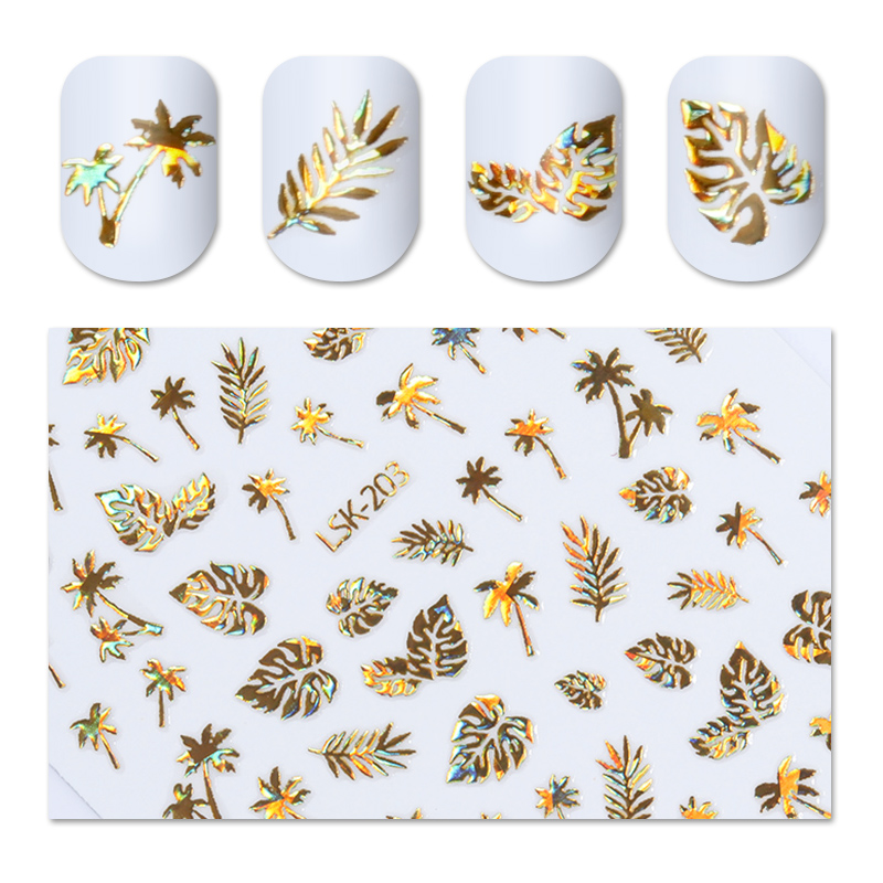 Holographic Gold 3D Nail Sticker Coconut Tree Leaf Holo Laser Adhesive Decal Sticker Manicure Nail Art Decoration 1 Sheet 1pc 2d nail glitter laser line pendant diy sticker tl211 nail art decoration sticker adhesive decal nail art tip women manicures