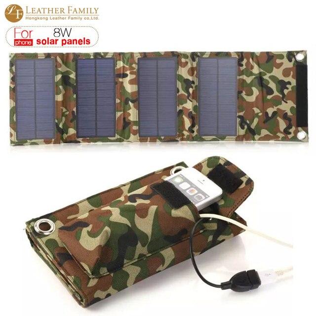 8 Вт 1500 мАч Складной Складной Солнечное Зарядное Устройство Внешних Банка Мощность аккумулятор для iphone 6 s смартфон Открытый Переносная сумка