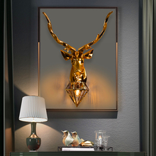 Modern American Retro Deer LED Wall Lamps Antlers Wall Light Fixtures Living Room Bedroom Bedside Lamp Led Sconce Home Luminaire