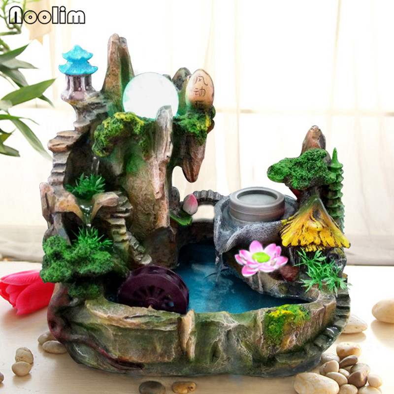 Rockery Water Fountain Lucky Water Wheel Crafts Bonsai Feng Shui Ornaments Home Office Decor Creative Waterscape Humidifier Buy At The Price Of 88 67 In Aliexpress Com Imall Com
