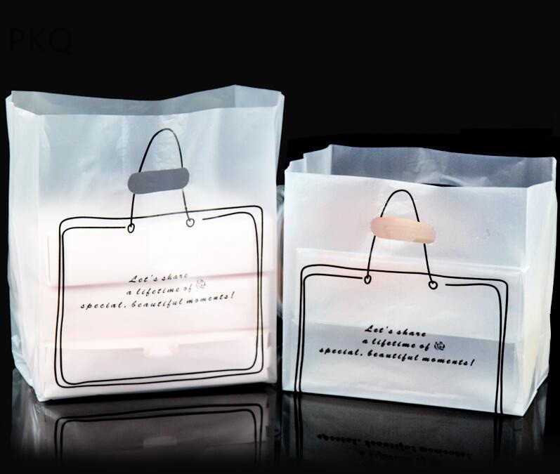 50pcs à emporter boîte de nourriture sacs demballage en plastique cadeau gâteau à emporter biscuits sac blanc clair à emporter à emporter sac demballage