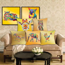RECOLOUR  Hot sale colourful animal dog cat yellow Cushion Cover throw pillows Home Decor Pillowcase pillow cover Sofa cojines