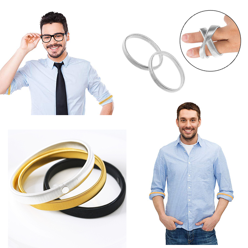 AWAYTR 1PC Anti-slip Metal Shirt Sleeve Holders for Men Women Stretchy Armband Sleeve Garter Elastic Armbands 4 Colors