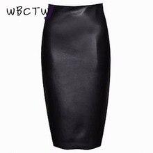 WBCTW 2018 10XL Big Size Skirt Women Zipper PU Leather Pencil Black Skirt High Waist Midi Length Sexy Bodycon Office Lady Skirt