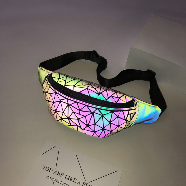 2018 Fashion Luminous Waist Bags Women Waist Fanny Packs Belt Bag Luxury Brand Leather Chest Handbag Geometry Waist Packs 4
