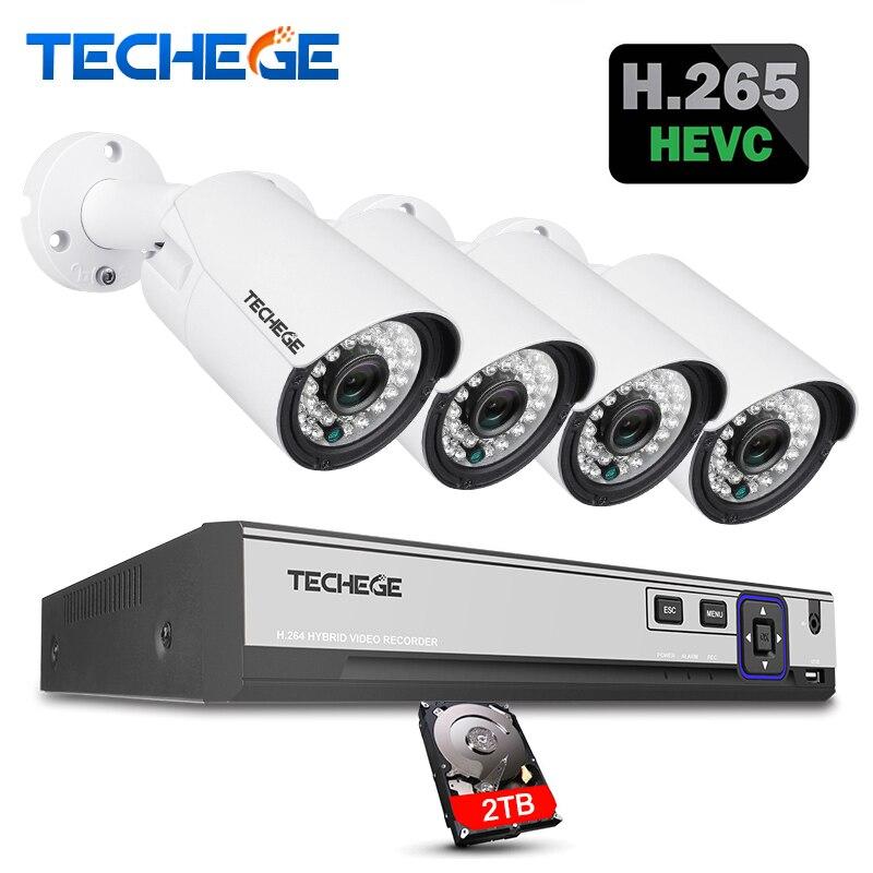 Techege H.265 H.264 5MP 2592*1944 Surveillance CCTV Système 48 v PoE 4CH NVR Kit 5MP 3MP 2MP Étanche extérieur CCTV Caméra Système