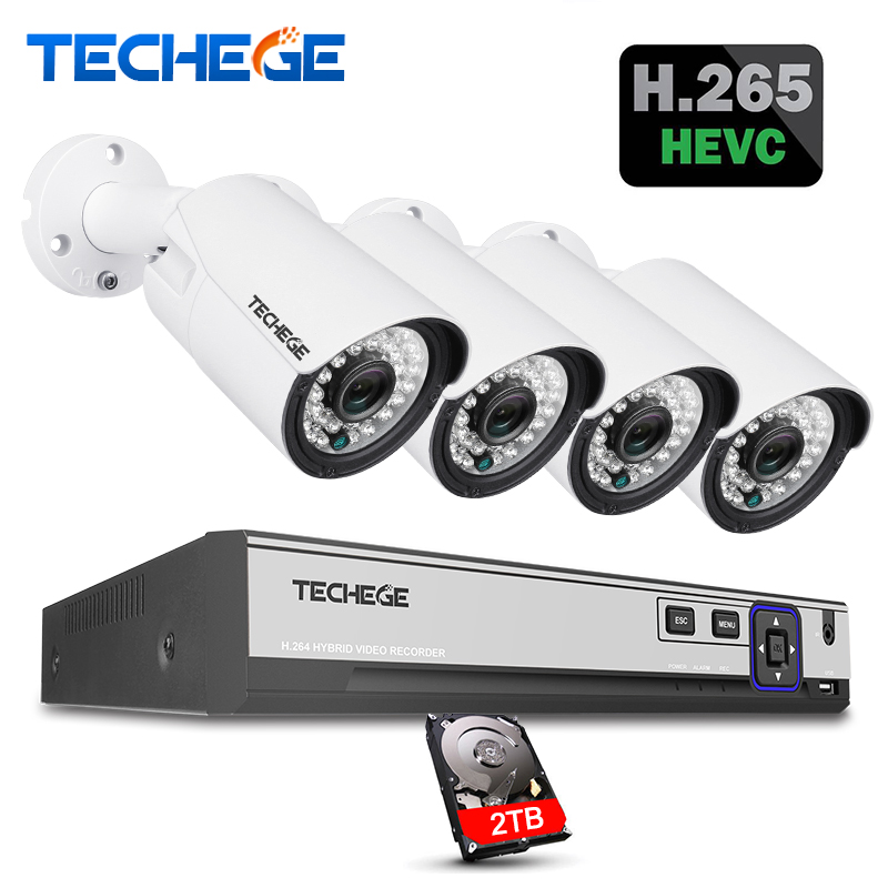 Techege H.265 H.264 5MP 2592*1944 Surveillance CCTV System 48V PoE 4CH NVR Kit 5MP 3MP 2MP Waterproof Outdoor CCTV Camera System h 265 4ch cctv system 5mp 3mp 2mp metal outdoor ip camera 4ch 1080p poe nvr kit alarm email night vision app pc remote