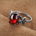 Fine Jewelry 925 Sterling Silver Anel Vintage Red Garnet Natural Stones Ring For Women