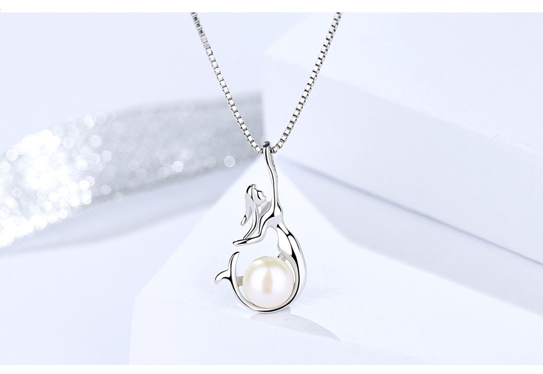 Silver 925 sterling silver personality mermaid pendant fashion beaded