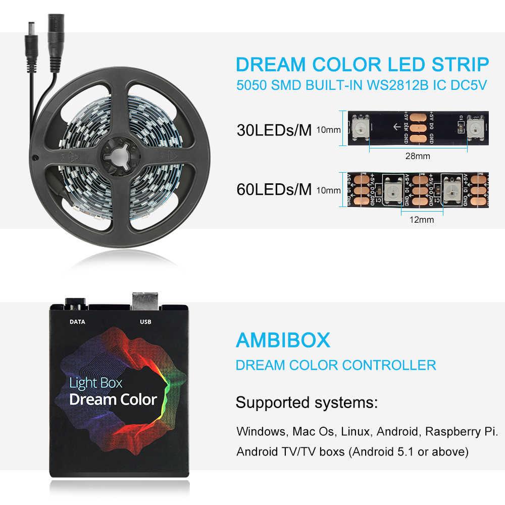 Ambilight telewizor z dostępem do kanałów taśma led z usb 5050 RGB kolor marzeń ws2812b taśmy dla TV pulpit pc podświetlenie ekranu oświetlenie 1M 2M 3M 4M 5M