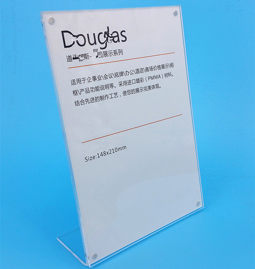 Clear 148x210mm A5 Acrylic Sign Advertising Display Paper Card Table Label Holder Vertical L Stand With Magnet In Corner 100pcs