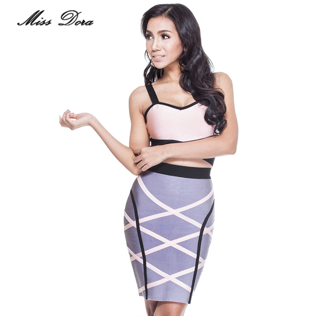 Free shipping! Big Sale Cross Color Block Fashion Two-pieces Set Celebrity Wear Bandage Dress Sleeveless Cocktail Party Dress
