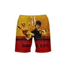 VEEVAN Men Board Shorts Hero Chinese Kongfu Bruce Lee Letter 3D Printing Beach Shorts