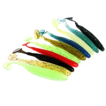 10pcs/set Fishing Lures Worm Soft Silicone T Tail Swimming Bass Bait 8.5cm 2.4g