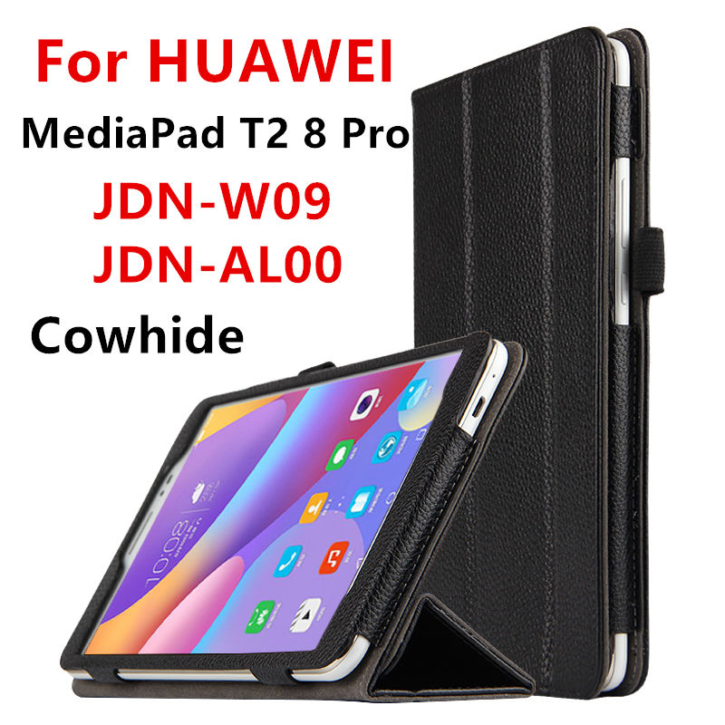 Case Cowhide For Huawei MediaPad T2 8 Pro Genuine Smart cover Leather Protective For HUAWEI Honor Tablet 2 JDN-W09 JDN-AL00 fashion print magnet protective stand cover pu leather funda case for huawei mediapad t2 8 0 pro honor tablet 2 8inch tablet