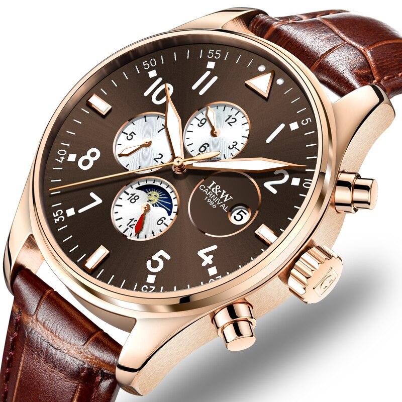 Карнавал механические часы Для мужчин фазы Луны кожаный ремешок розового золота Нержавеющаясталь Multi-Функция часы Relogio Masculino