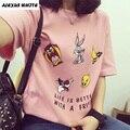 Dos desenhos animados Imprimir Camiseta Mulheres 2017 Verão de Manga Curta T-Shirt de Algodão Tops Moda Tees Soltos O-pescoço Harajuku Feminino