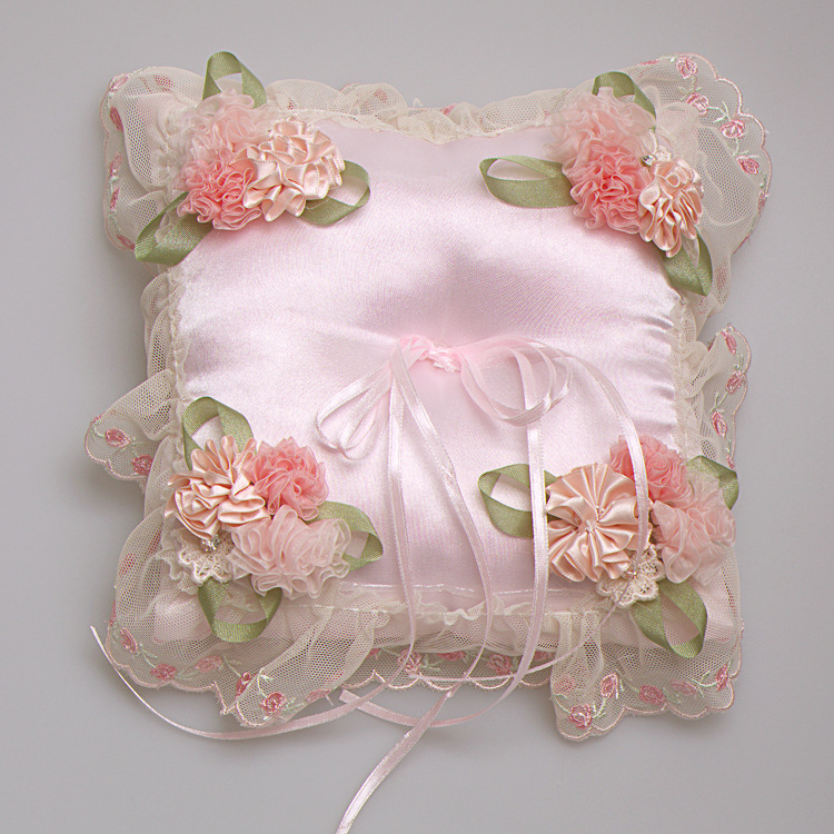 party supplies wedding ring pillow pink flowers ribbon satin bridal wedding ring holder pillow nupcial anel - Wedding Ring Holder