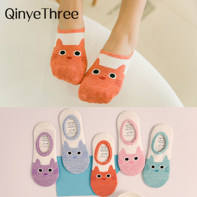 cute harajuku print cat   socks   women summer korean animal funny cute low cut ankle   sock   happy candy color   sock   sokken
