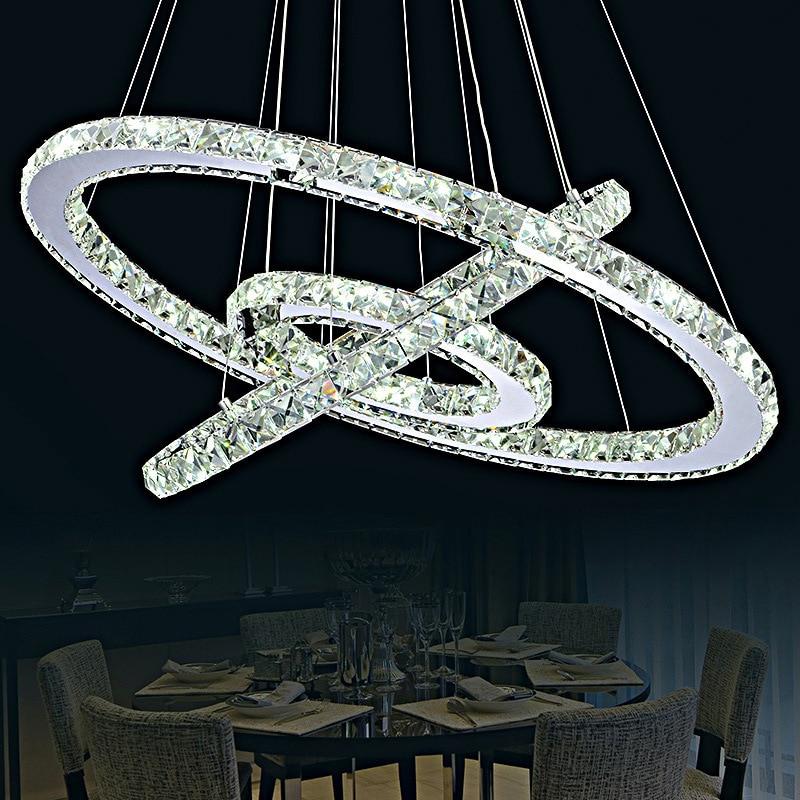 Işıklar ve Aydınlatma'ten Kolye ışıkları'de Modern Avize Sıcak Satış Elmas Yüzük Led K9 Kristal Avize Led ışık Kolye Lamba Çevreler IÇIN Yemek odası ya da oturma odası title=