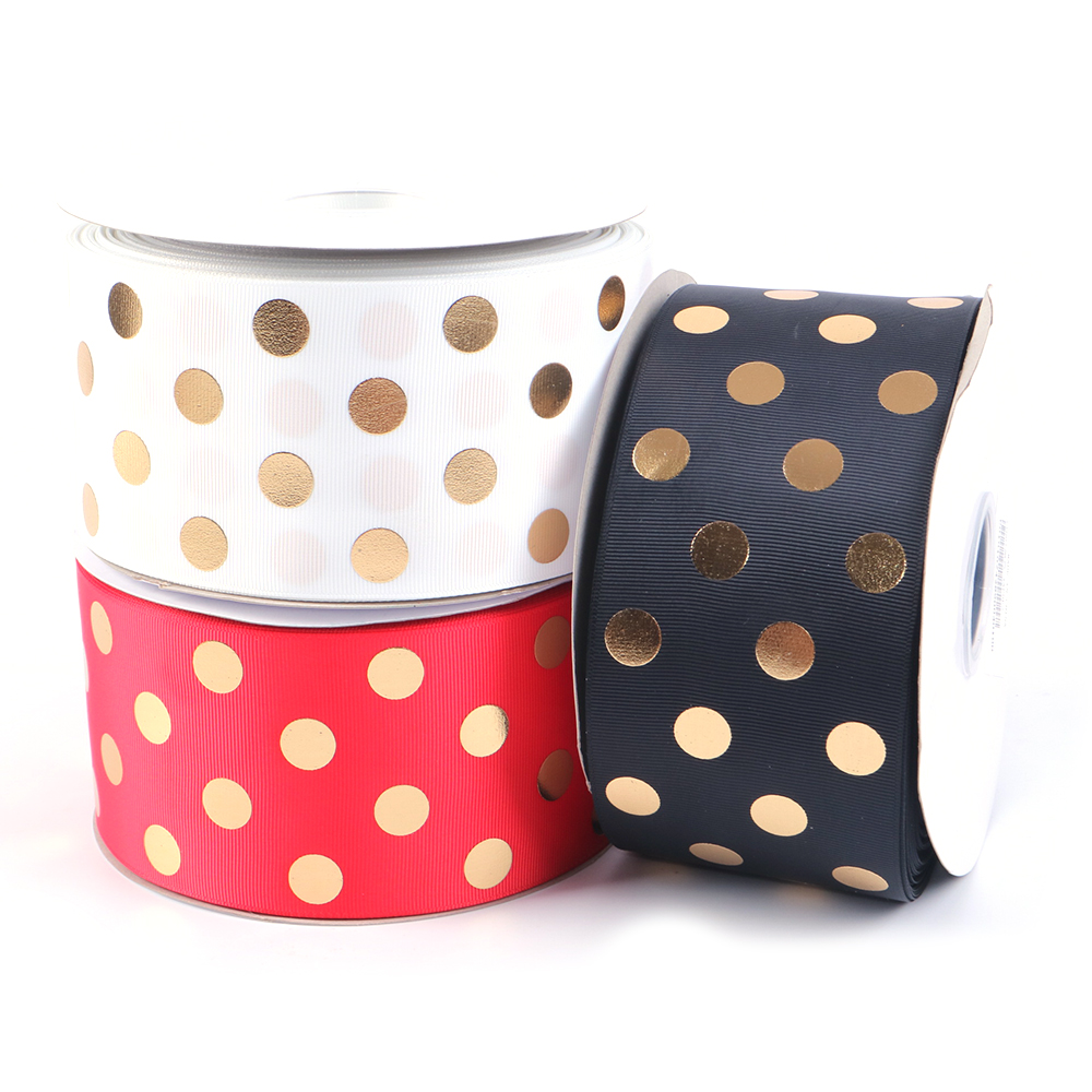 David accessories 3 75mm gold foil Polka dots Grosgrain ribbon 50yards DIY Hairbow handmade materials wedding