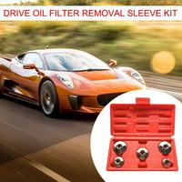 5pcs 3/8 Inch Drive Oil Filter Remover Socket Set Universal Wrench Tool Kit Auto Car Repair Tool Box Set