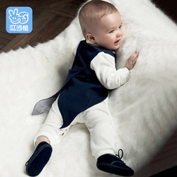 Dinstry New born Rompers Clothing Spring handsome bowtie vest+Romper 2pcs suits Boy's swallowtailed Outfits