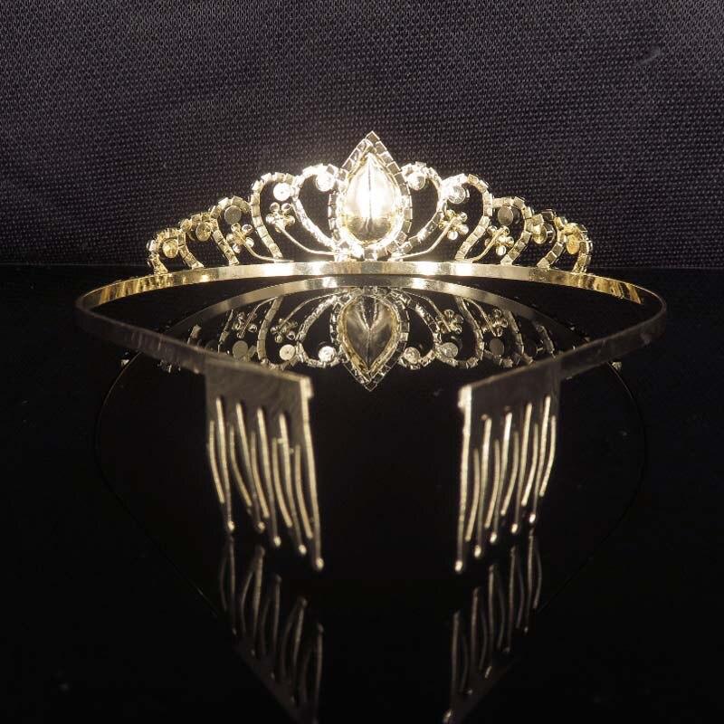 Для женщин Корона диадема аксессуары для волос для девочек невесты Вечерние оголовье свадебные украшения Красный Кристалл Rhinestone Золото го...