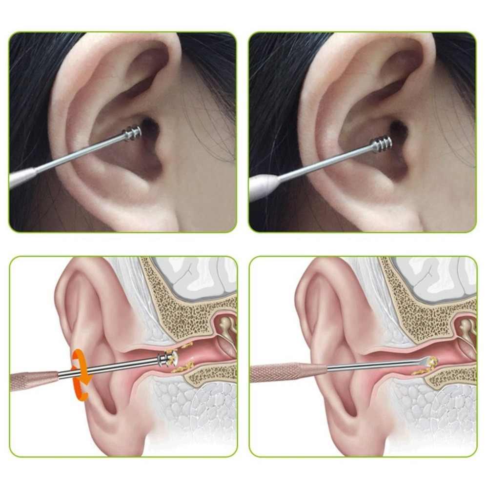 12 ซม.แบบพกพาคู่เกลียว Earpick หู Curette เครื่องมือขุด Earpick Ear Cleaner ช้อนหูทำความสะอาดเครื่องมือ