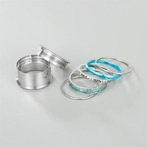 Image 3 - خواتم من الفولاذ المقاوم للصدأ Floya للنساء قابلة للتبديل ، خاتم زفاف قابل للدوران ، خاتم كبير من طبقات Aneis Feminino Anillos Mujer