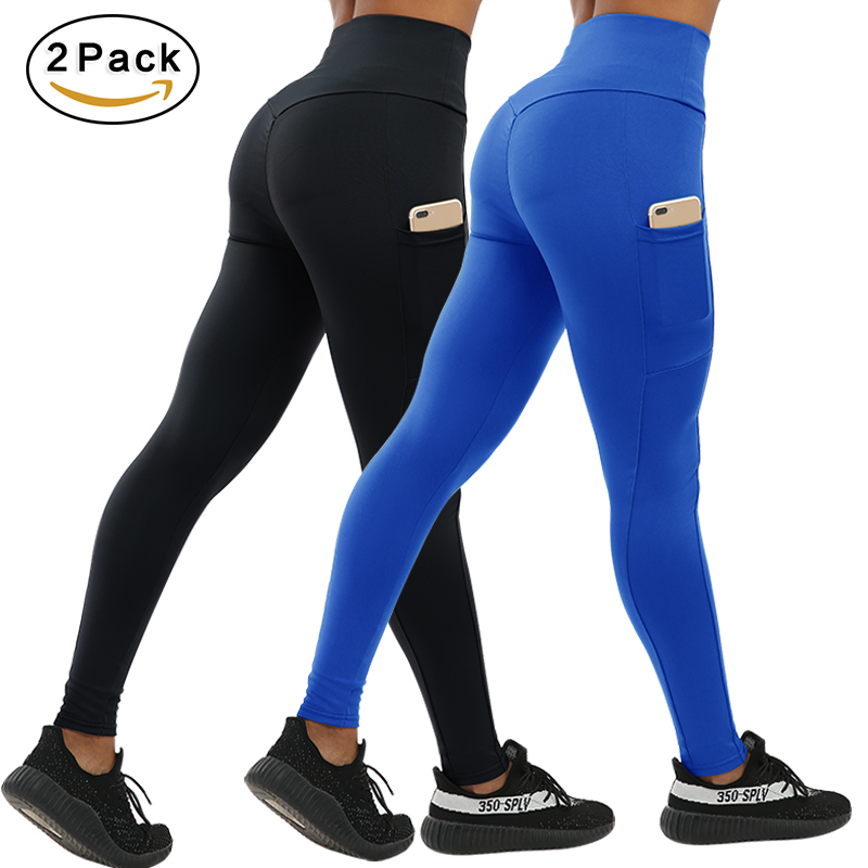 CHRLEISURE 2pcs Fashion Push Up Fitness Leggings Women with Pockets High Waist Workout Women Legging Patchwork Leggings Women