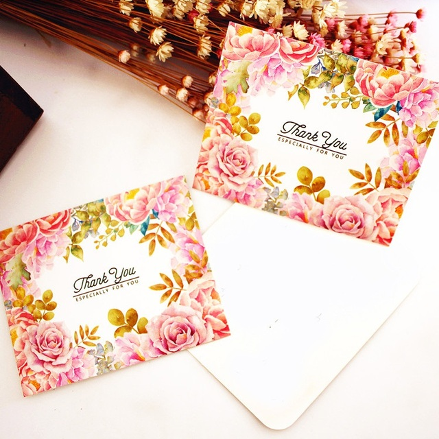 50pcs thank you pink rose style leave message cards Lucky Love