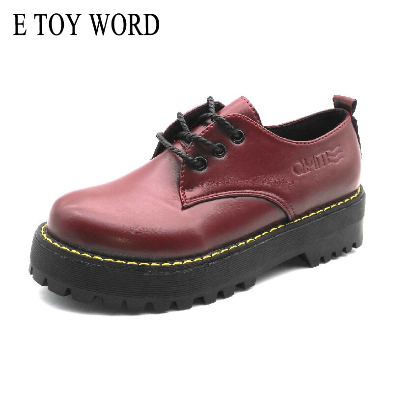 E TOY WORD British Style women oxfords New Spring Autumn Lace-Up Flats Round Toe Creepers Casual Ladies Platform Shoes Woman cosidram pointed toe women oxfords spring autumn fashion women flats pu leather lace up women shoes ladies 2017 bsn 023