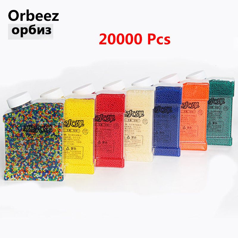 Seven Colors Orbeez 9-11mm 20000Pcs Water Gun Bullet Soft Crystal Paintball Bullet Balls Water Gun Toy Gift For Childrens