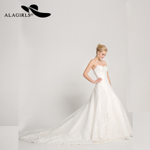 Alagirls New Arrived Wedding Dress 2019 A-Line Sweetheart Court Train Tulle Gown With Appliques Beading Vestido de novia