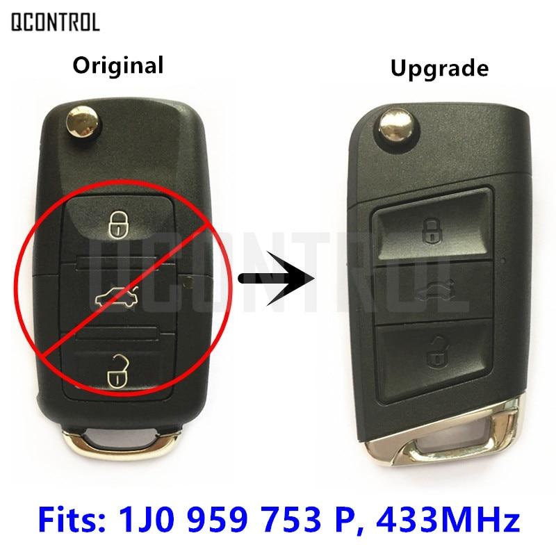QCONTROL New Remote Key Upgrade for VW/VOLKSWAGEN Beetle/Jetta/Golf/Passat 1J0959753P 1J0 959 753 P or 1J0959753G 1J0 959 753 G