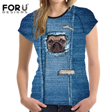 FORUDESIGNS 3D Pug Dog Wolf Women Basic T shirt O Neck Short Sleeved Lady T-shirt Brand Summer Clothes Fit Tees Girl Asian size