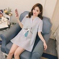 Pregnant women summer dress embroidered short sleeved season fashion pregnant tide Korean Korean pregnancy skirt