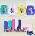 2015 Spring&Autumn Girl Sweatshirt Cute Elsa Anna Long Sleeve T-shirts Baby Girls Blouses Fashion Children's Clothing C10