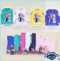 2015 primavera e outono menina camisola bonito Elsa Anna manga comprida T - shirt do bebê meninas blusas moda roupas de criança C10