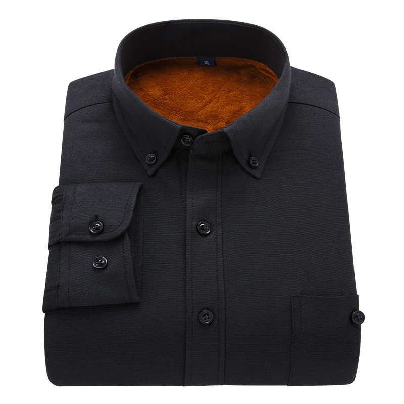 2019 Winter Men Candy Colors Shirt Fashion Casual Add Wool Warm Shirt Slim Man Oxford Cloth Camisa Masculina Long Sleeve Shirts